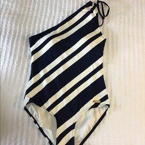 DKNY Nautical Navy/Cream Striped Swimsuit